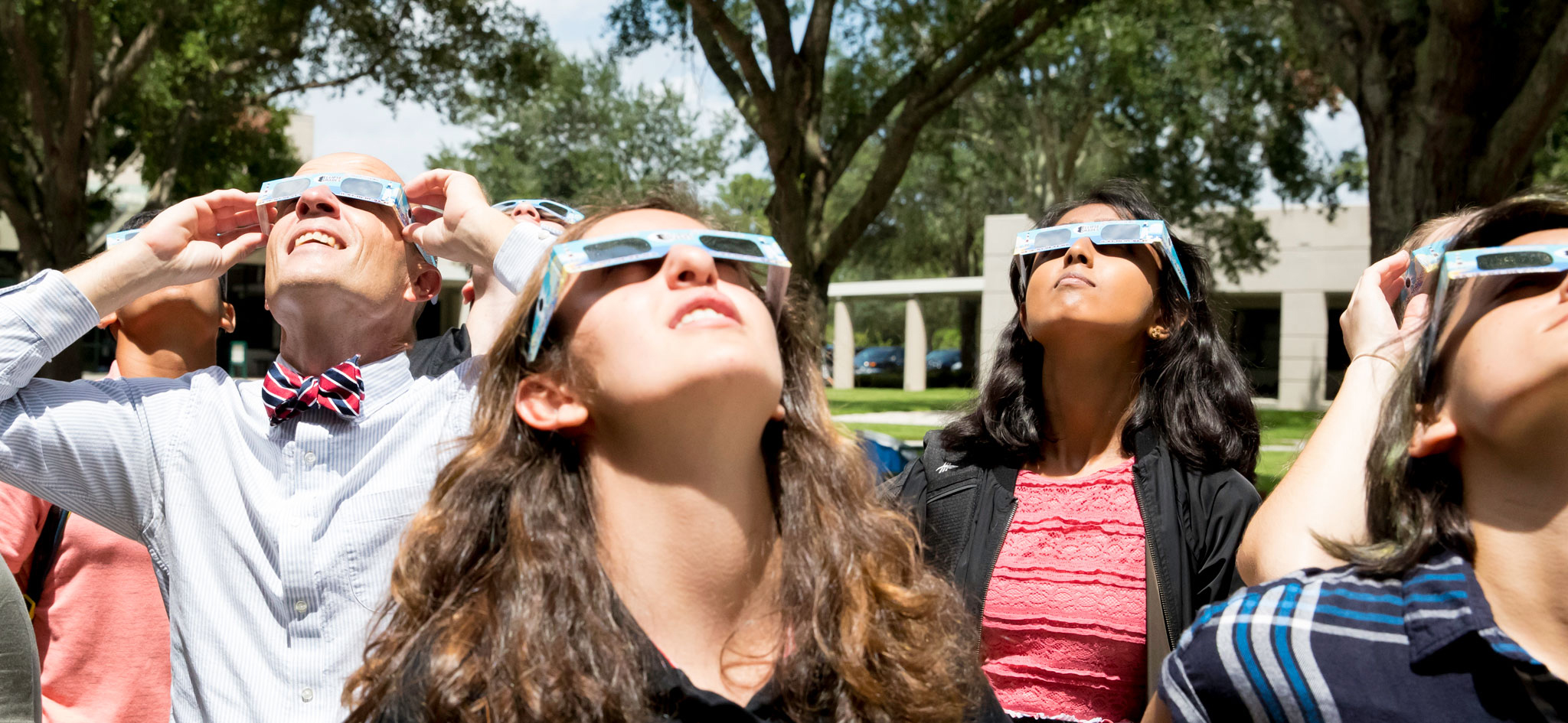 Students and faculty view the solar eclipse